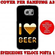 Cover Back case in silicone per samsung  A3 (A300) con I LOVE BEER
