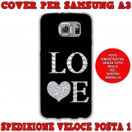 Cover Back case in silicone per samsung  A3 (A300) nera con scritta LOVE