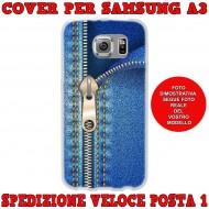 Cover Back case in silicone per samsung  A3 (A300) con cerniera jeans