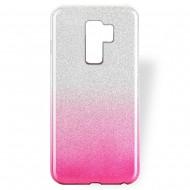 Cover custodia per Samsung S9 Plus G965 in TPU Back Case BLINK Brillantini GLITTER Argento e Rosa