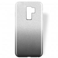 Cover custodia per Samsung S9 Plus G965 in TPU Back Case BLINK Brillantini GLITTER Argento e Nero