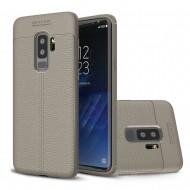 Custodia per Samsung S9 Plus G965 Cover tpu paraurti modello Litchi pattern Grigio