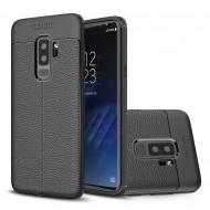 Custodia per Samsung S9 Plus G965 Cover tpu paraurti modello Litchi pattern Nero