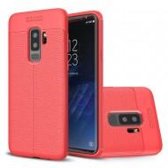 Custodia per Samsung S9 Plus G965 Cover tpu paraurti modello Litchi pattern Rosso