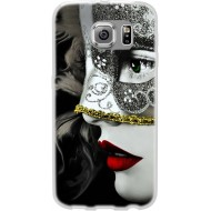 Cover Back case in silicone per samsung  J1 (J100) con donna in maschera