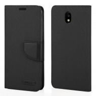 Custodia per Samsung J7 2017 Canvas/Tessuto a libro - portafoglio chiusura magnetica cover tpu colore Nero