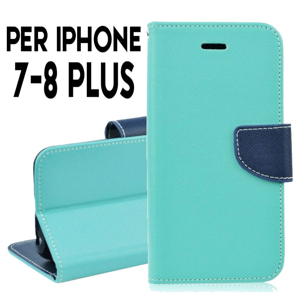 Custodia per Iphone 7-8 Plus cover libro portafoglio chiusura ...